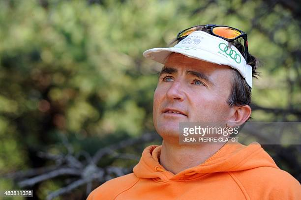Swiss climber Ueli Steck poses in Sigoyer in the HautesAlpes department of southeastern France on August 13 2015 Steck announced on August 12 that he...