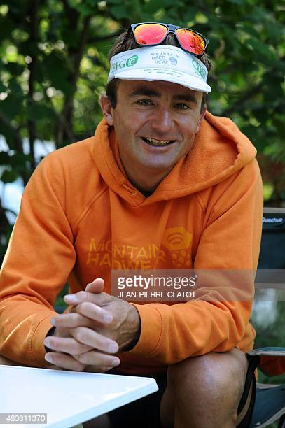 Swiss climber Ueli Steck speaks during an interview in Sigoyer in the HautesAlpes department of southeastern France on August 13 2015 Steck announced...