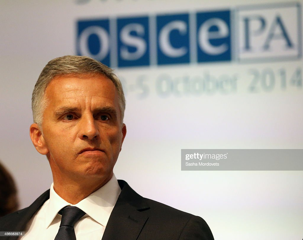Swiss Confederation President and Foreign Minister <a gi-track='captionPersonalityLinkClicked' href=/galleries/search?phrase=Didier+Burkhalter&family=editorial&specificpeople=6269147 ng-click='$event.stopPropagation()'>Didier Burkhalter</a> seen during the OSCE Parliamentary Assembly conference on October 3, 2014 in Geneva, Switzerland. Naryshkin who is under U.S. and EU sanctions is on a two-days visit to Geneva and planning to attend the international parliamentary conference assembly of the OSCE.