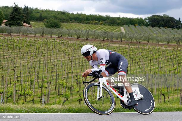 Swiss cyclist Fabian Cancellara of Trek Segafredo team cycles during the 9th individual time trial stage of 99th Giro d'Italia Tour of Italy from...