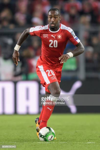 Swiss defender Johan Djourou controls the ball during the FIFA World Cup 2018 football qualifier match between Switzerland and Hungary at the St...