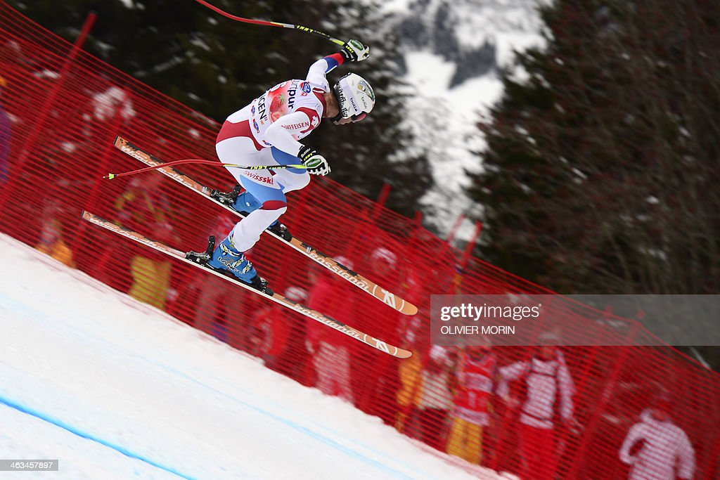 Swiss' Didier Defago competes during the FIS men's Alpine World Cup downhill in Wengen on January 18 2014 AFP PHOTO / OLIVIER MORIN