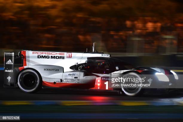 Swiss driver Neel Jani competes on the Porsche 919 Hybrid N°1 during the 85th Le Mans 24hours endurance race on June 17 2017 in Le Mans western...