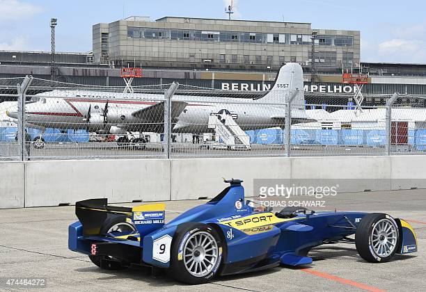 Swiss driver Sebastien Buemi of team edamsRenault steers his car during the qualifying session of the 2015 Fia Formula E Berlin championships in...