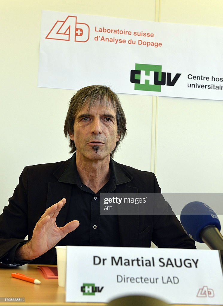 Swiss drug testing laboratory director Martial Saugy gives a press conference on January 11, 2013 in Epalinges, above Lausanne, following claims made by US Anti-Doping Agency chief Travis Tygart during an interview aired on January 9, describing the sophistication of the Lance Armstrong doping scandal. Among the subjects addressed in the interview, Tygart said Armstrong had been tipped off by Saugy about how to beat the erythropoietin (EPO) test in 2002 after one of Armstrong's samples from the 2001 Tour of Switzerland was described as 'suspicious.'
