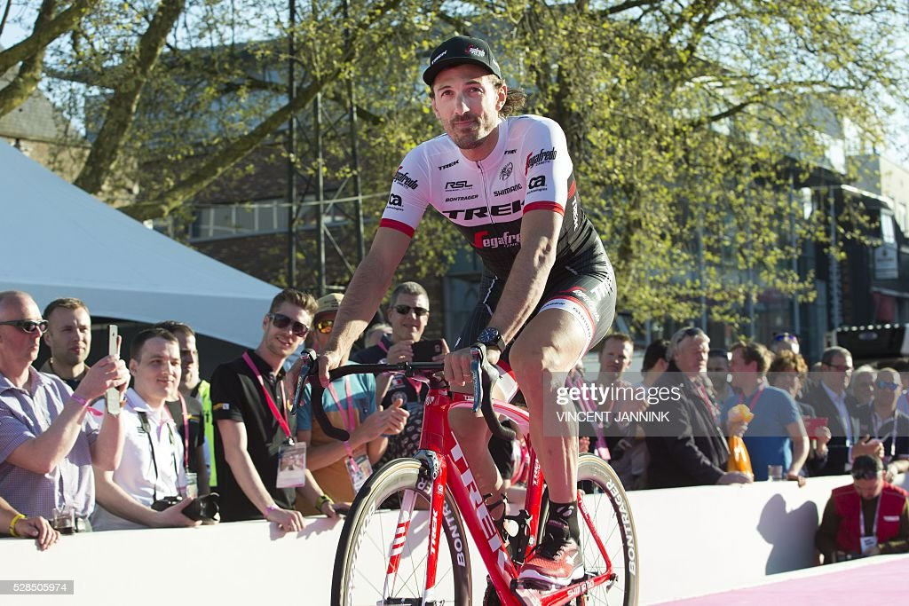 Swiss Fabian Cancellara of cycling team Trek arrives for the presentation of the Giro d'Italia cycling race in Apeldoorn, on May 5, 2016, on the eve of the start. / AFP / ANP / Vincent Jannink / Netherlands OUT