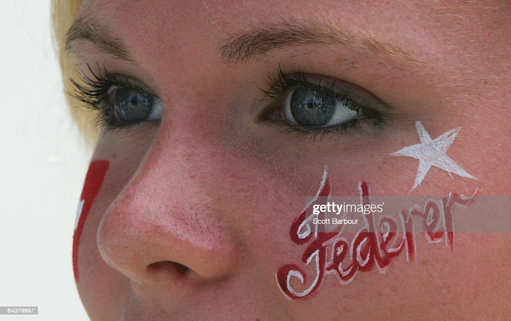A Swiss fan shows her support for Roger Federer of Switzerland during day three of the 2009 Australian Open at Melbourne Park on January 21, 2009 in Melbourne, Australia.