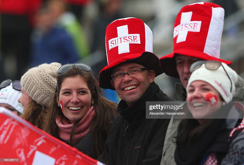 Swiss fans enjoy the action during the Men's Skiathlon 15km at the FIS Nordic World Ski Championships on February 23, 2013 in Val di Fiemme, Italy.