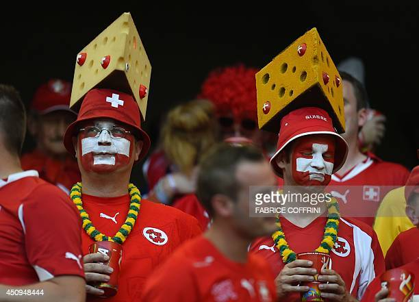 Swiss fans react during a Group E football match between Switzerland and France at the Fonte Nova Arena in Salvador during the 2014 FIFA World Cup on...