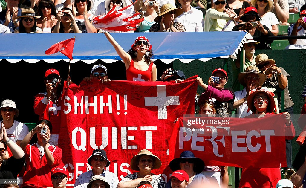 Swiss fans show their support during day four of the AAMI Classic at the Kooyong Lawn Tennis Club on January 17 2009 in Melbourne Australia