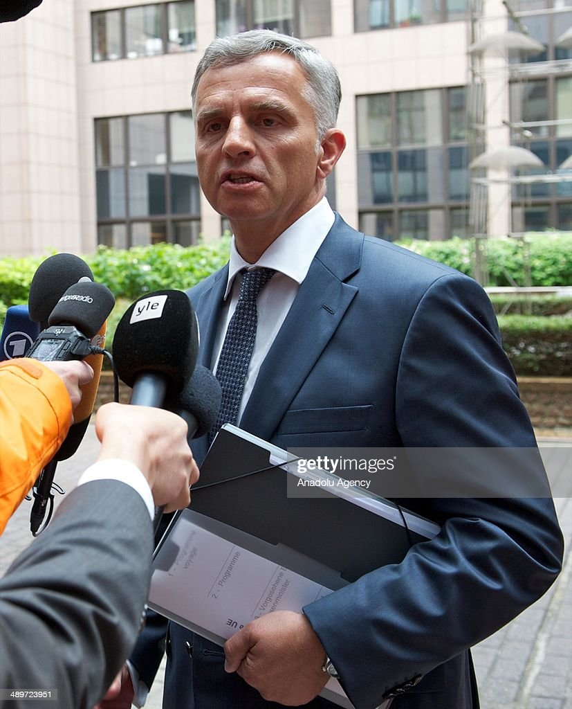 Swiss Federal President and OSCE Chairman <a gi-track='captionPersonalityLinkClicked' href=/galleries/search?phrase=Didier+Burkhalter&family=editorial&specificpeople=6269147 ng-click='$event.stopPropagation()'>Didier Burkhalter</a> speaks to the media as arrives for the EU Foreign Affairs Ministers meeting at the EU headquarters in Brussels, Belgium on May 12, 2014.