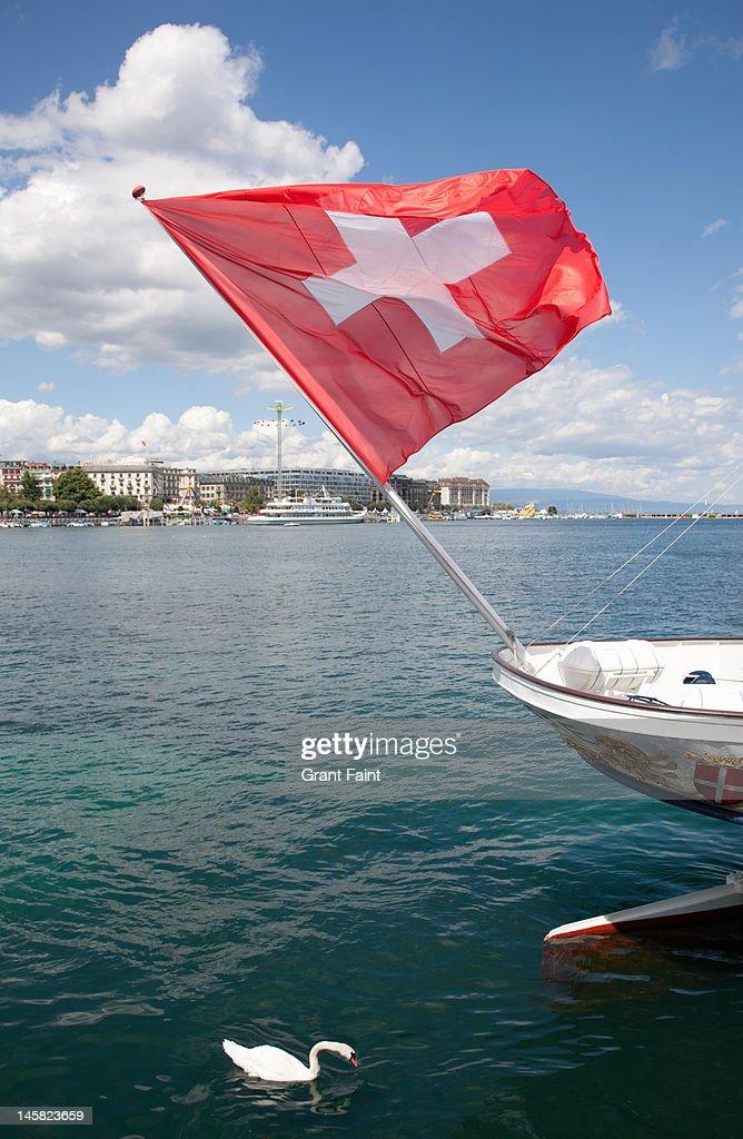 Swiss flag and swan on Lake Geneva : Stock Photo