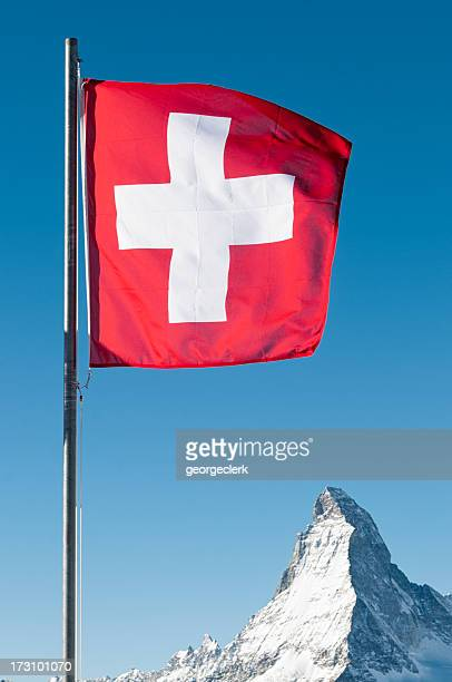 Swiss Flag and the Matterhorn's Peak