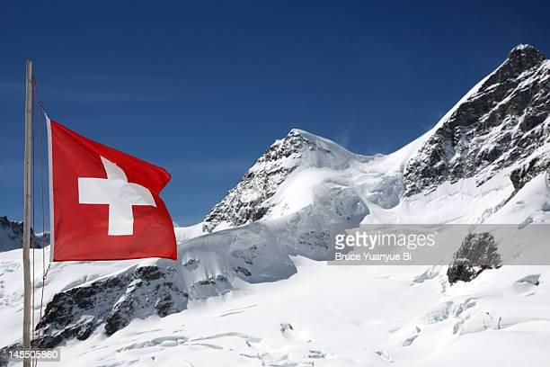 Swiss flag in Jungfraujoch recreation area.