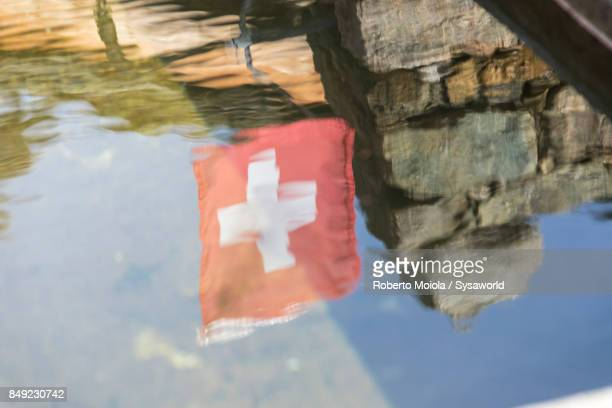 Swiss flag, San Romerio Alp, Switzerland