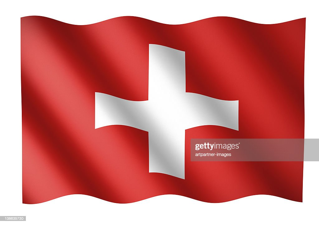 Swiss flag waving or National Flag of Switzerland