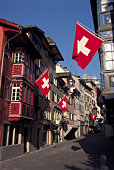 Swiss flags on building exteriors