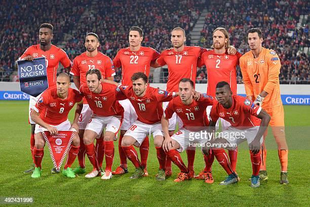 Swiss football team players Johan Djourou Ricardo Rodriguez Fabian Schaer Pajtim Kasami Michael Lang Roman Buerki Gokhan Inler Silvan Widmer Admir...