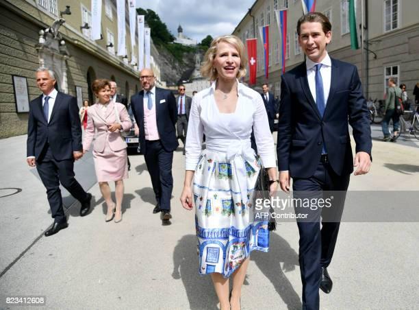 Swiss Foreign Minister Didier Burkhalter Foreign Minister of Liechtenstein Aurelia Frick and Austria's Foreign Minister Sebastian Kurz arrive for the...