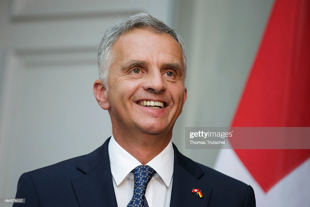 Swiss foreign minister <a gi-track='captionPersonalityLinkClicked' href=/galleries/search?phrase=Didier+Burkhalter&family=editorial&specificpeople=6269147 ng-click='$event.stopPropagation()'>Didier Burkhalter</a> speaks to the media on August 17, 2015 in Bern, Switzerland.