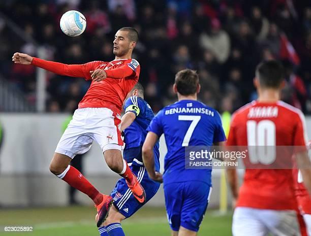 Swiss forward Eren Derdiyok controls the ball during the FIFA World Cup 2018 Group B qualifying football match between Switzerland and Faroe Islands...