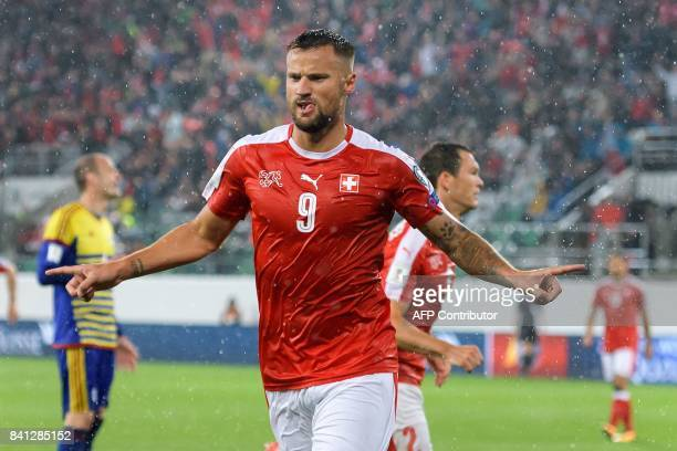 Swiss forward Haris Seferovic after scoring during the FIFA World Cup WC 2018 football qualifier between Switzerland and Andorra at the Kybunpark...