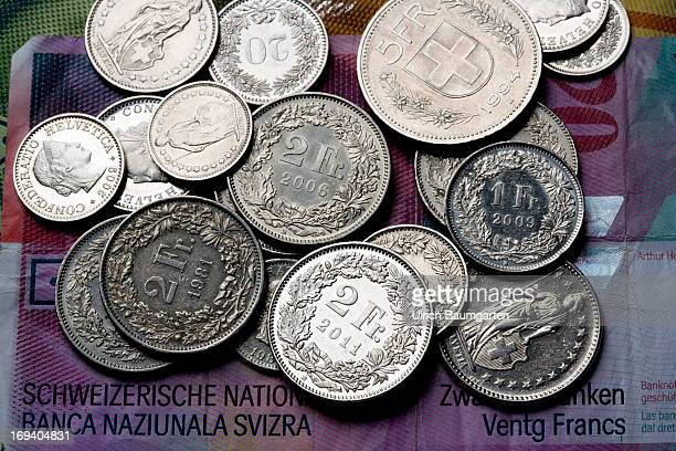 Swiss Francs currency of Switzerland coins and bank notes on May 16 2013