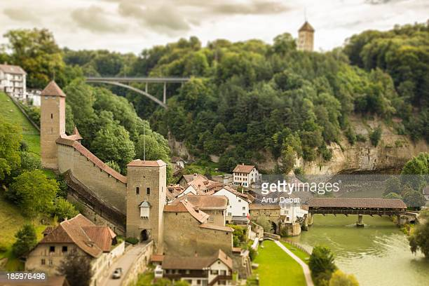 Swiss Fribourg fortress view from above with river