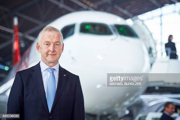 Swiss International Airlines Chief Executive Officer Thomas Kluehr poses during a media presentation of the Swiss International Air Lines' new...