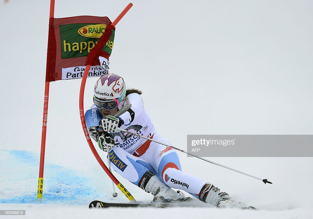 swiss Marc Berthold competes during the FIS World Cup men's Giant Slalom first run competition in Garmisch-Partenkirchen, southern Germany, on February 24, 2013. French Alexis Pinturault won the competition, Austrian Marcel Hirscher placed second and US Ted Ligety placed third. AFP PHOTO / CHRISTOF STACHE