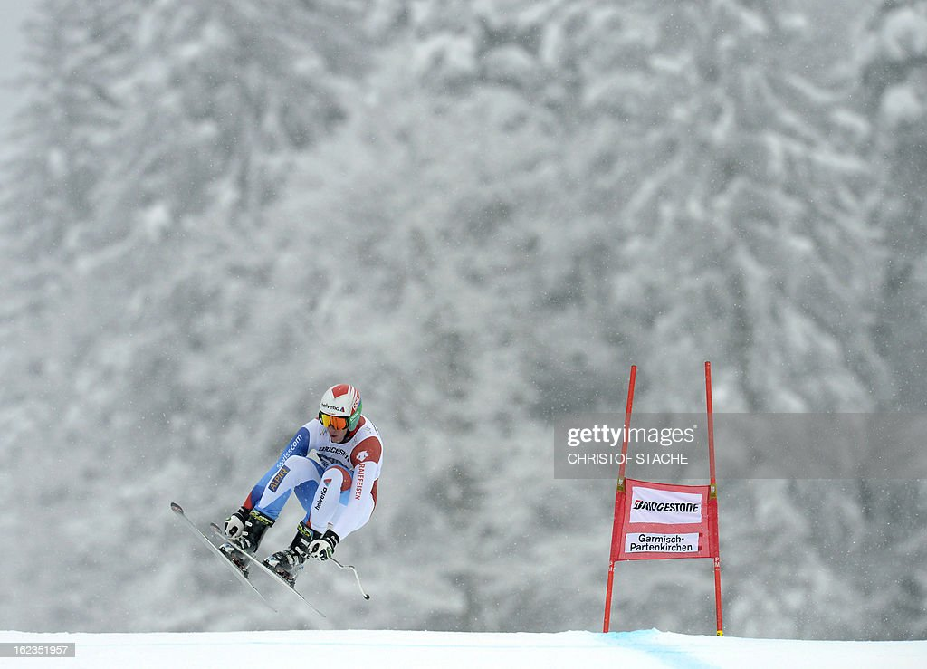 Swiss Marc Gisin skis during the training of the FIS World Cup men's downhill in Garmisch-Partenkirchen, southern Germany, on February 22, 2013.