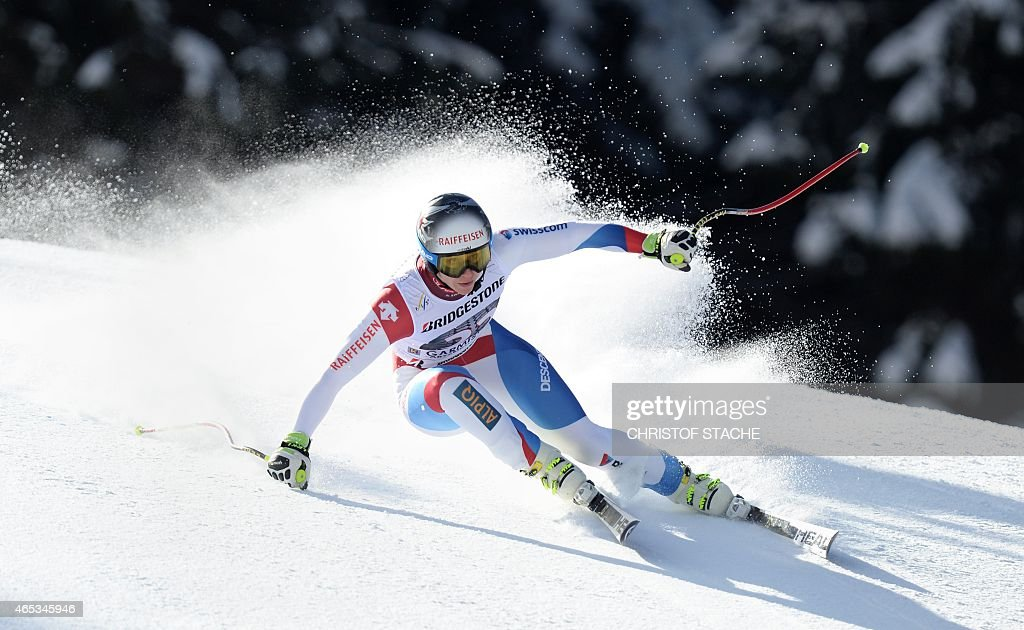 Swiss Marianne Abderhalden competes in the women's downhill training's competition of the FIS alpine ski world cup in Garmisch-Partenkirchen, southern Germany, on March 6, 2015.