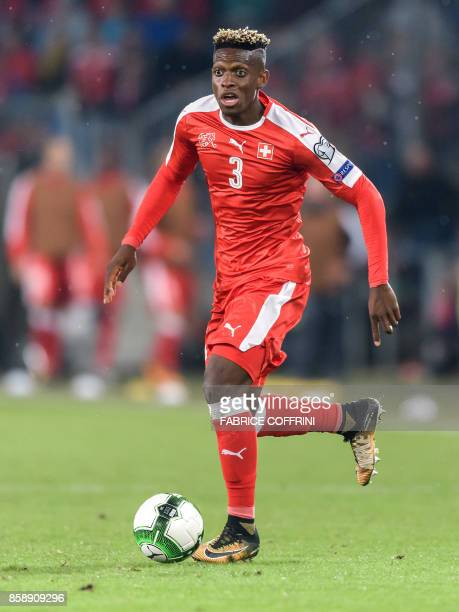 Swiss midfielder Denis Zakaria controls the ball during the FIFA World Cup 2018 football qualifier match between Switzerland and Hungary at the St...