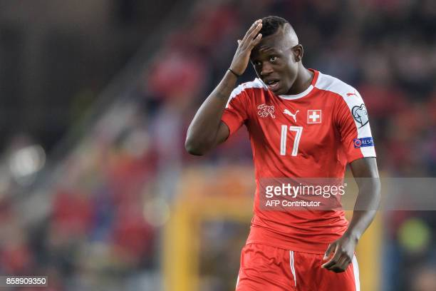 Swiss midfielder Denis Zakaria gestures during the FIFA World Cup 2018 football qualifier match between Switzerland and Hungary at the St JakobPark...