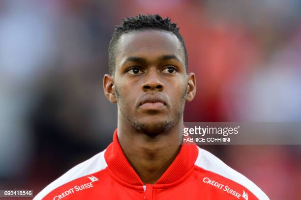 Swiss midfielder Edimilson Fernandes looks on prior to a friendly football between Switzerland and Belarus at the Stadium Maladiere on June 1 2017 in...