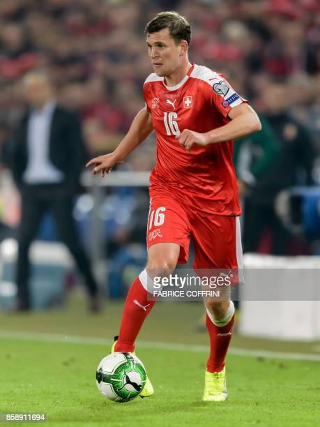 Swiss midfielder Fabian Frei controls the ball during the FIFA World Cup 2018 football qualifier match between Switzerland and Hungary at the St...