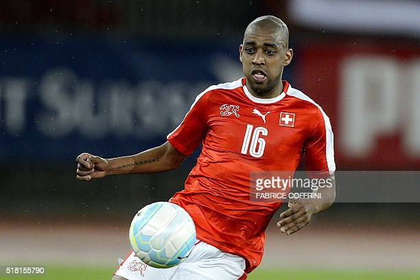 Swiss midfielder Gelson Fernandes tries to control the ball during the friendly football match between Switzerland and BosniaHerzegovina at...