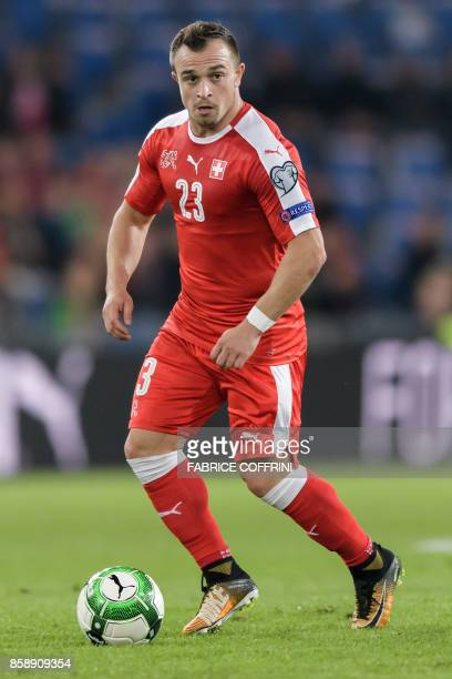 Swiss midfielder Xherdan Shaqiri controls the ball during the FIFA World Cup 2018 football qualifier match between Switzerland and Hungary at the St...