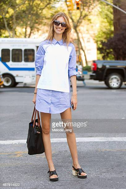Swiss model Manuela Frey exits Richard Chai with a Longchamp purse on Day 1 of New York Fashion Week Spring/Summer 2015 on September 4 2014 in New...