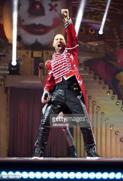 Swiss musician DJ BoBo performs live during a concert at MaxSchmeling Hall on April 30 2014 in Berlin Germany