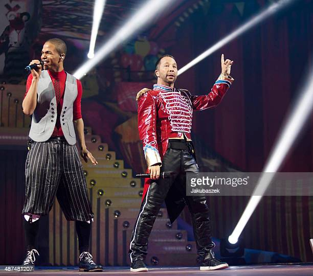 Swiss musicians Jesse Ritch and DJ BoBo performs live during a concert at MaxSchmeling Hall on April 30 2014 in Berlin Germany