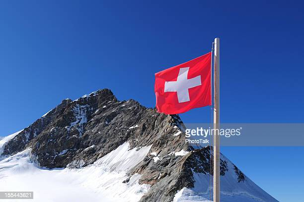 Swiss National Flag and Jungfrau Mountain Peak - XXXXXLarge
