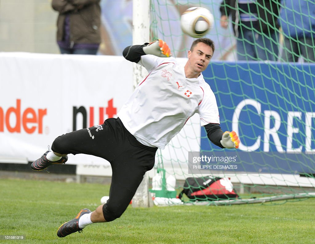 Swiss national football team goalkeeper Diego Benaglio tries to catch a ball during training on May 27, 2010 in Sierre near the Swiss Alpine resort of Crans Montana ahead of the 2010 FIFA World Cup in South Africa.