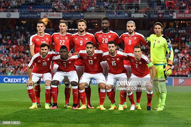 Swiss national football team players forward Admir Mehmedi forward Breel Embolo defender Ricardo Rodrigue midfielder Blerim Dzemaili and defender...