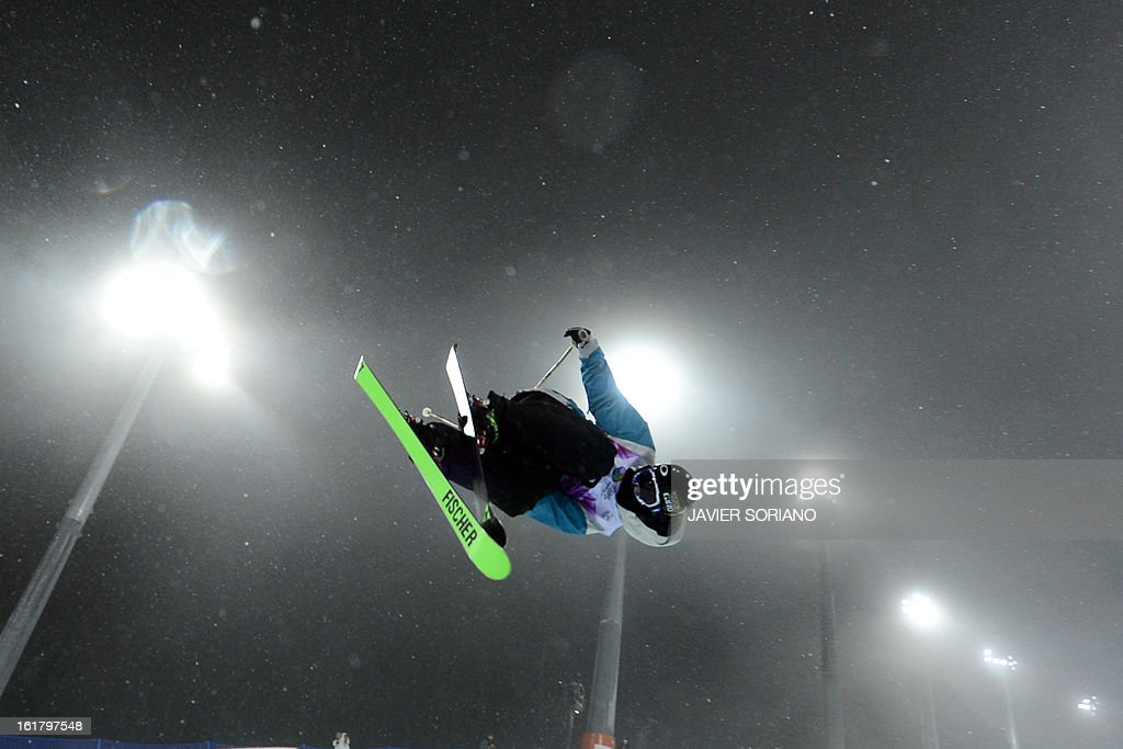 Swiss Nina Ragettli competes during Ladies' FreeStyle Halfpipe final race at the Snowboarding and Free Style World Cup Test Event at the Snowboard and Free Style Centre in Rosa Khutor near the Russian Black Sea resort of Sochi on February 16, 2013. Swiss Virginie Faivre won the race ahead of Canadian Rosalind Groenewoud and Canadian Keltie Hansen.
