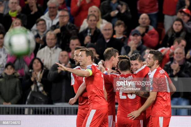Swiss player celebrate a goal during the FIFA World Cup WC 2018 football qualifier match between Switzerland and Hungary at the St JakobPark Stadium...