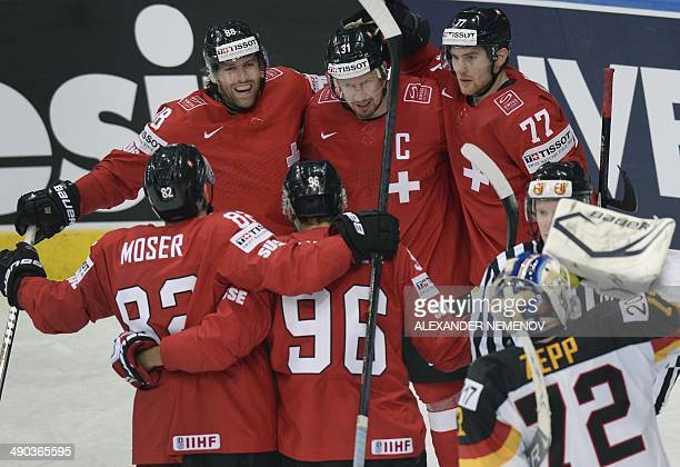 Swiss players celebrate a goal during a preliminary round group B game Switzerland vs Germany of the IIHF International Ice Hockey World Championship...