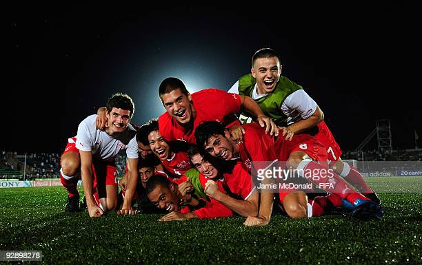 Swiss players celebrate victory during the FIFA U17 World Cup Quarter Final match between Switzerland and Italy at the Gateway Internationl Stadium...