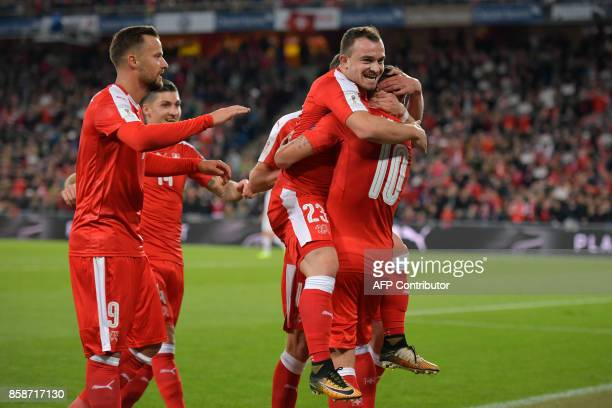 Swiss players celebrates a goal during the FIFA World Cup WC 2018 football qualifier match between Switzerland and Hungary at the St JakobPark...
