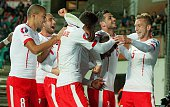 Swiss players reacts after the Euro 2016 Group E qualifying football match between Estonia and Switzerland at A Le Coq Arena in Tallinn on October 12...